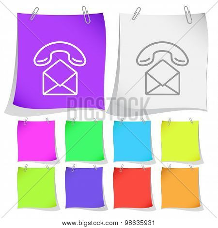 open mail with handset. Vector note papers.