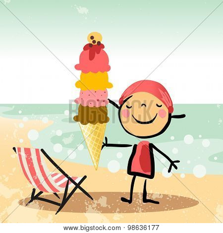 Cute Little girl tanning on beach, at the sea, ocean, holding an icecream. Summer vacation vector illustration.