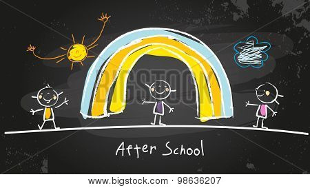 After school activities, kids playing program. Chalk on blackboard vector concept doodle style hand drawn illustration.
