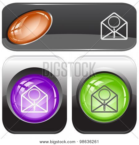 open mail with magnifying glass. Vector internet buttons.
