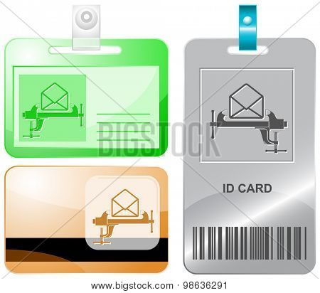 open mail with clamp. Vector id cards.