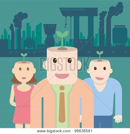 Ecological Concept With Plant On Head People And Factory Pollution.