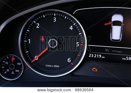 Modern car illuminated dashboard