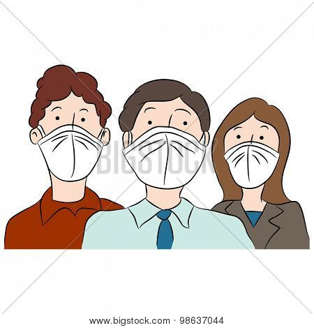 An image of cartoon people wearing masks to protect themselves from disease.
