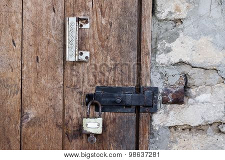 Handle, Bolt And Lock On An Old Door