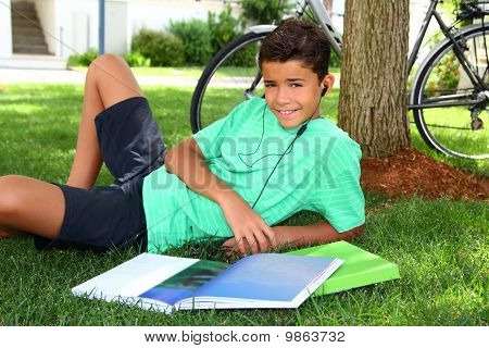 Teen Smiling Boy Studying Book Garden Headphones