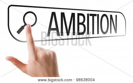 Ambition written in search bar on virtual screen