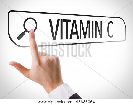 Vitamin C written in search bar on virtual screen