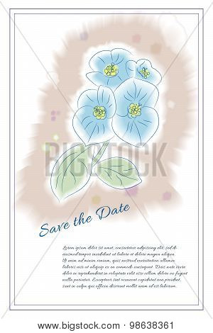 Vector card template for life events with hand drawn flower in w