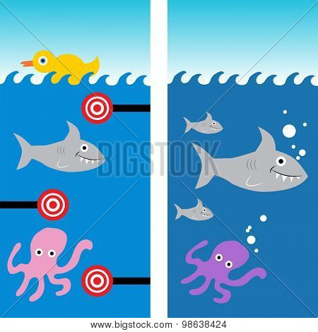 An image of a marine life shooting gallery background.