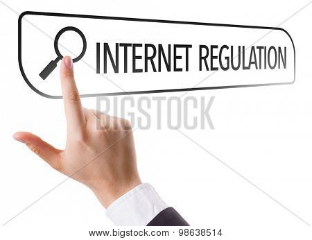 Internet Regulation written in search bar on virtual screen