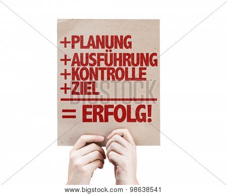Planning + Execution + Control + Target = Success (in German) card isolated on white