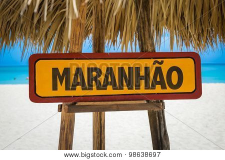 Maranhao sign with beach background