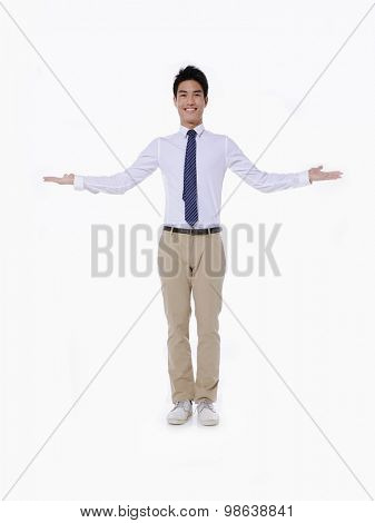 Full body businessman with doubt gesture