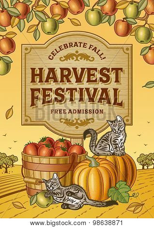 Harvest Festival Poster. Editable EPS10 vector illustration with clipping mask and transparency.