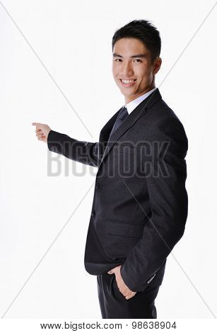 picture of a happy business man presenting something on a white background