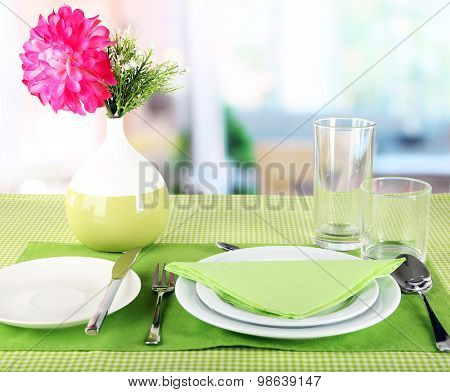 Table setting for breakfast