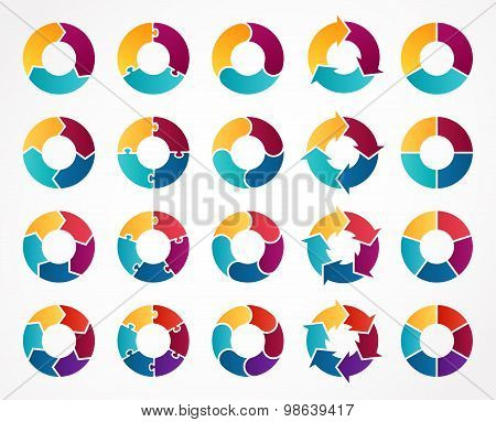 Vector circle arrows infographic. Template for cycle diagram, graph, presentation and round chart. Business concept sign with 3, 4, 5, 6 options, parts, steps or processes.