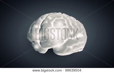 Science image with human brain on gray background