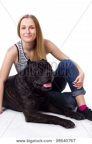 Girl Sitting Next To His Dog Cane Corso