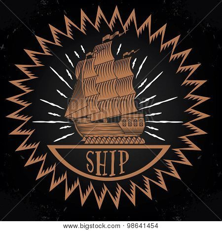 Vintage ship logotype  illustration