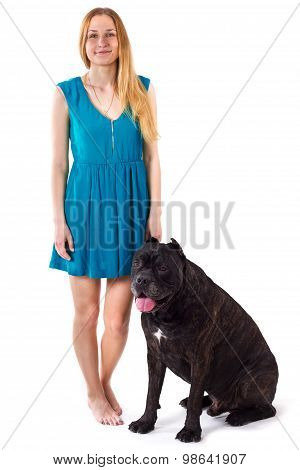 Girl In Blue Dress Standing Next To A Large Dog Cane Corso