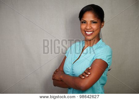 Good-looking African Lady Smiling At The Camera