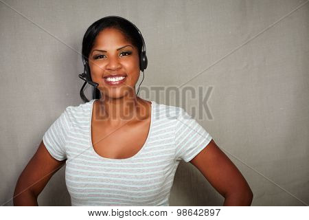 Happy Callcenter Operator Looking At The Camera