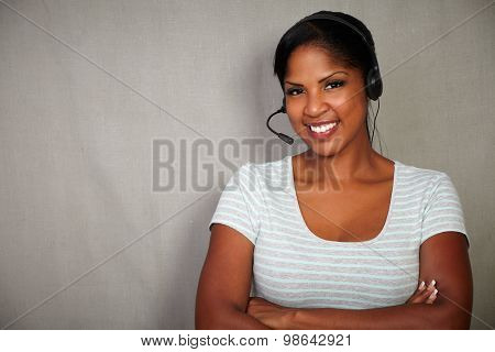 Young African Businesswoman Talking On Headset