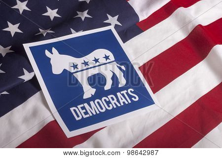 Democrat Election Vote And American Flag