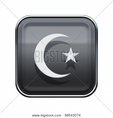 Turkish Icon Glossy Grey, Isolated On White Background