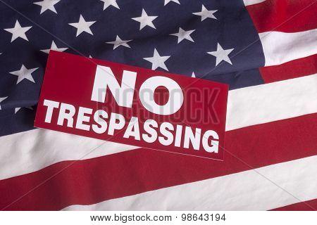 Us Flag No Trespassing Sign