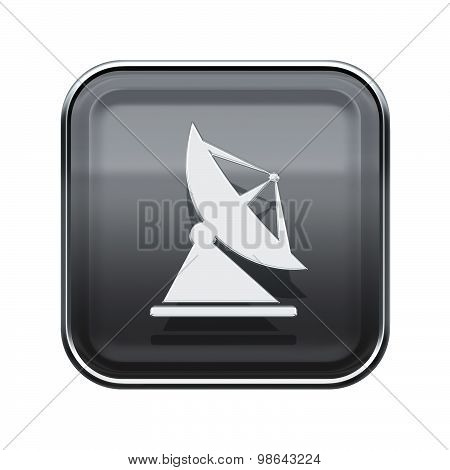 Antenna Icon Glossy Grey, Isolated On White Background