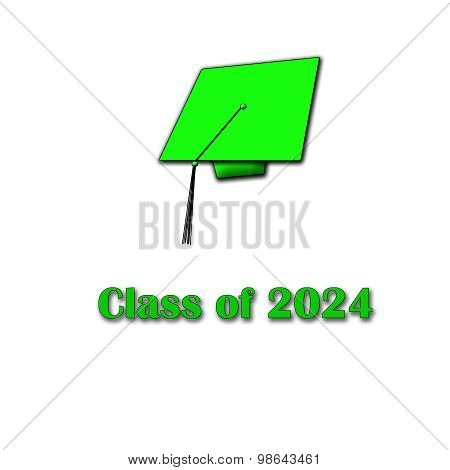 Class of 2024 Green on White Single Large