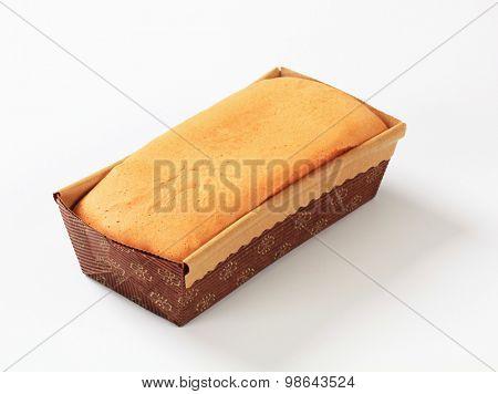 homemade sponge cake in paper loaf pan