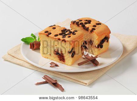 slices of chocolate chip sponge cake