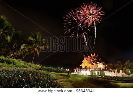 Fireworks celebrate the queen's birthday anniversary over Ho Kham Luang at Royal Flora Chiangmai