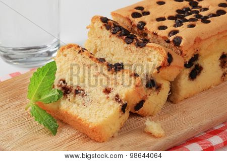 sponge cake topped with chocolate chips