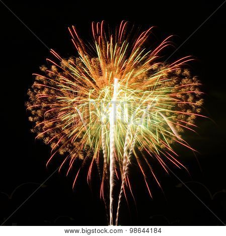 Beautiful Fireworks In Celebrate Day Isolate On Black Background