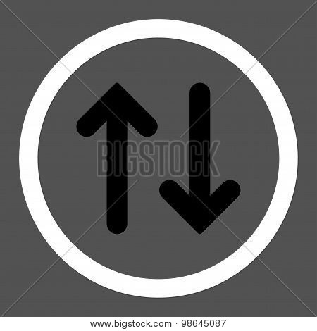 Flip flat black and white colors rounded vector icon