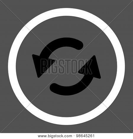 Refresh Ccw flat black and white colors rounded vector icon