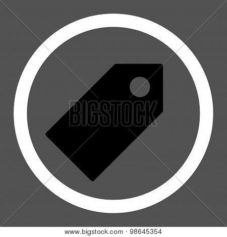 Tag flat black and white colors rounded vector icon