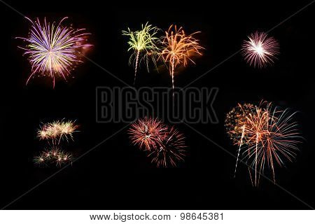 Collection Of Fireworks In Celebrate Day Isolate On Black Backgr