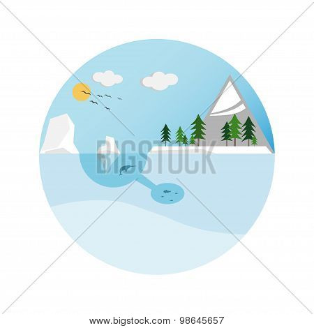 Collection Of Icons. Concept Design Infographics Ecology. Vector Illustration.