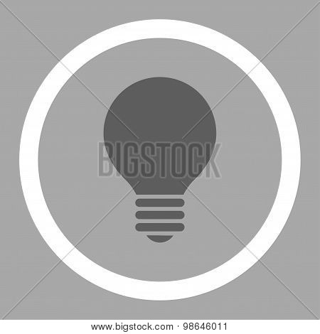 Electric Bulb flat dark gray and white colors rounded vector icon