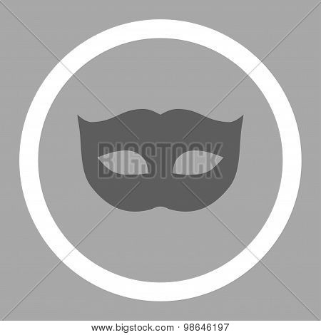Privacy Mask flat dark gray and white colors rounded vector icon