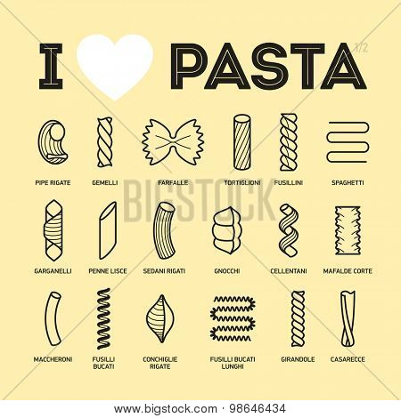 Different types and names of pasta guide vector illustration, part 1/2