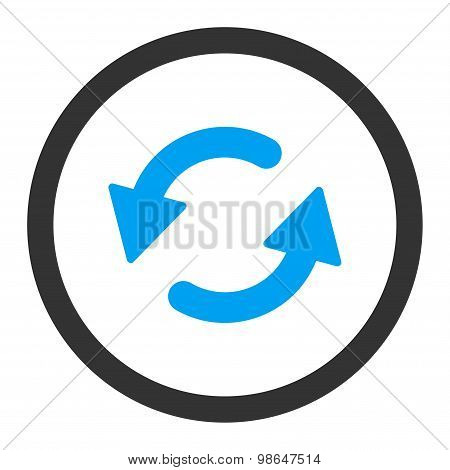 Refresh Ccw flat blue and gray colors rounded raster icon