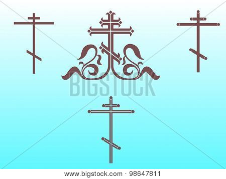 Ornamental orthodox cross, geometric orthodox crosses.