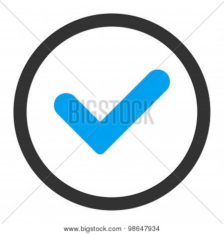 Yes flat blue and gray colors rounded raster icon